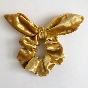 Gold Velvet Bow Scrunchie